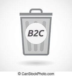 Isolated trashcan with the text B2C - Illustration of an...