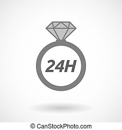 Isolated ring with the text 24H - Illustration of an...