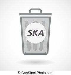 Isolated trashcan with the text SKA - Illustration of an...