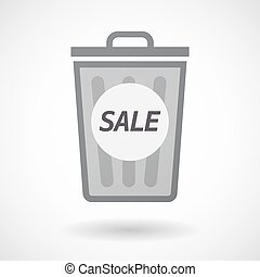 Isolated trashcan with    the text SALE