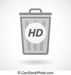 Isolated trashcan with the text HD - Illustration of an...