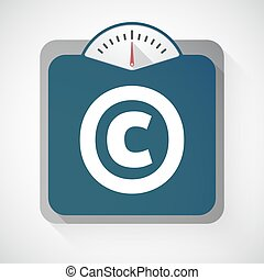 Isolated weight scale with    the  copyright sign