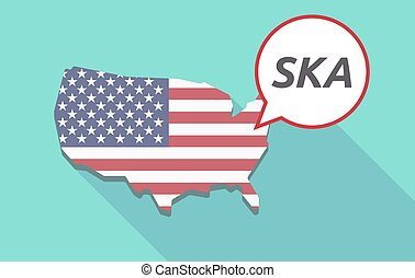 Long shadow USA map with the text SKA - USA map with a comic...