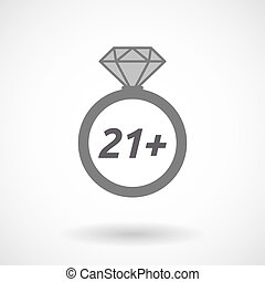 Isolated ring with the text 21+ - Illustration of an...