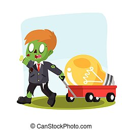 zombie businessman pulling cart with giant bulb