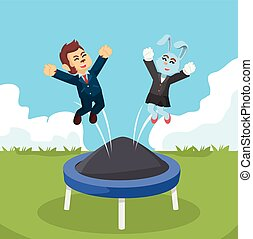 business animal playing with trampoline