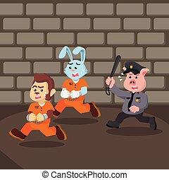 convict animal escaping prison