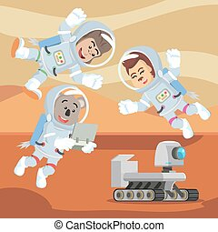 group of animal astronauts controlling rover