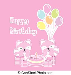 Birthday card with cute raccoons on birthday party theme