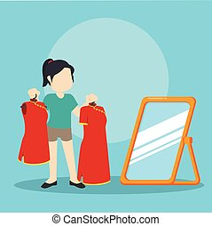 chinese girl choosing clothes for lunar new year