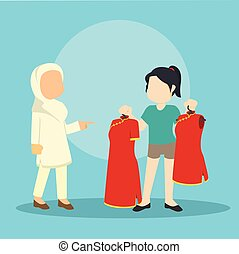 muslim girl helping chinese girl choosing clothes