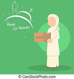 muslim woman asking for zakat