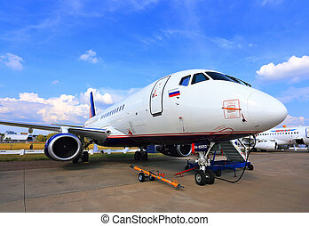 Passenger jet at the airshow - MOSCOW REGION – AUGUST 27:...
