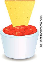 Mexican salsa with nacho chip vector icon