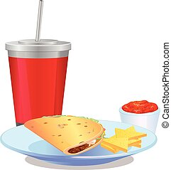 Taco meal with nacho chip, salsa and drinks vector icon -...