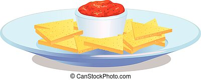 Nacho chips on plate with salsa vector icon - Vector...