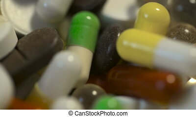 Macro view on a pile of drugs and pills. - Macro view on a...