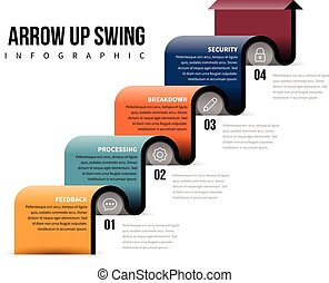 Arrow Up Swing Infographic - Vector illustration of arrow up...