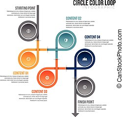 Circle Color Loop Infographic - Vector illustration of...