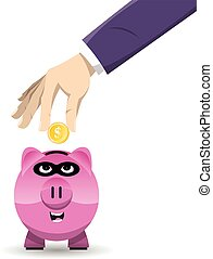 Piggy Bank Thief - Vector illustration of a hand inserting a...