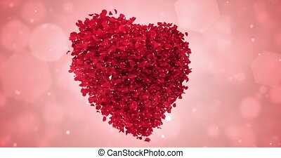 Rotating Red Rose Flower Petals In Lovely Heart Shape Background Loop 4k