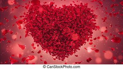 Red Rose Flower Falling Petals In Lovely Heart Shape Background Loop