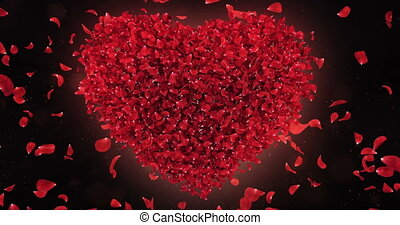 Red Rose Falling Flower Petals In Lovely Heart Shape Background Loop