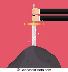 Businessman hand try to pull sword from stone. Busness...