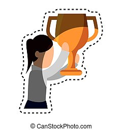 businesswoman character avatar with trophy vector...