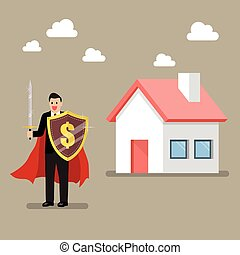 Businessman protecting house with shield and sword
