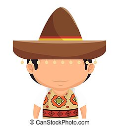 mexican man character isolated icon vector illustration...