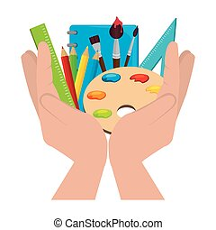 paint pallette school supply isolated icon vector...