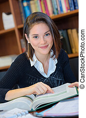 woman student studying