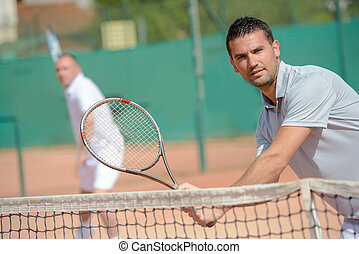 intense tennis game