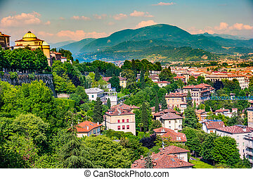 Panoramic view of Citta Alta, old town. Bergamo - Panoramic...