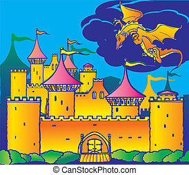 Fairy-tale - Magic castle and dragon Fairy-tale Vector...