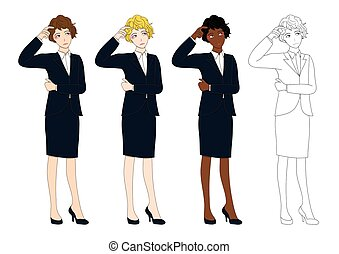 Set Cute Business Woman Thinking to Make Decision. Full Body Vector Illustration