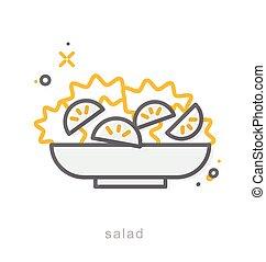 Thin line icons, Salad