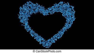 Blue Rose Sakura Flower Petals In Heart Shape Alpha Matte Placeholder Loop