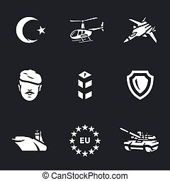 Vector Icons Set of Turkish army. - Crescent, helicopter,...