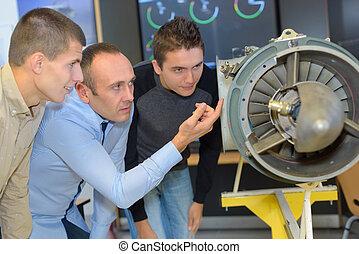 aeronautical engineers testing speed of propellers