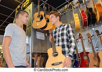 display of guitars