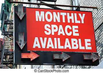 Monthly Space Available Parking Lot Sign - A city parking...