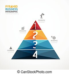 Pyramid geometric Infographic Template business success step...