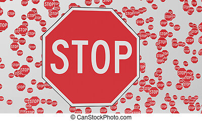 Octagonal Stop Signs Floating in White Space - Octagonal...