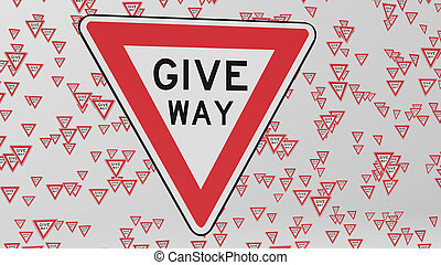 Red Give Way Signs Floating in White Space - Give way...