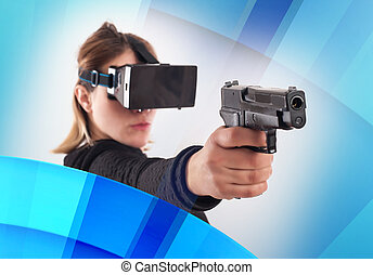 Woman play VR shooter game with virtual reality gun and vr...