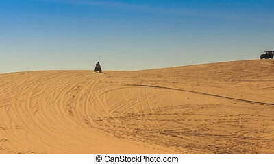 White Sand Dune Distant Quad Runs Jeep on Skyline - panorama...