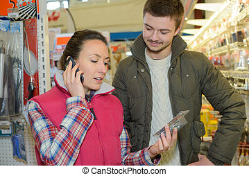 hardware store assistant asking hq for client specific...