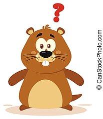 CÙte, carattere, marmotta, domanda, marchio, cartone animato